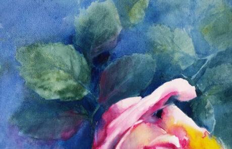 rosa 1 acquarello 30x70