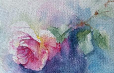 rosa 9 acquarello 30x20